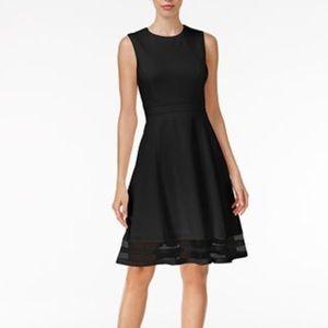 Calvin Klein Illusion-Trim Fit & Flare Black Dress